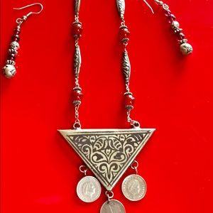 Vintage Silver Necklace  & Earings Set